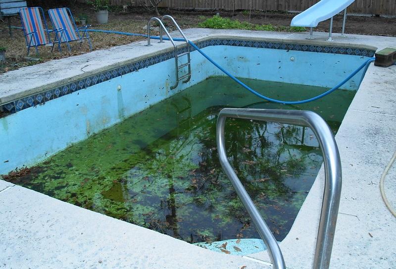 draining pool